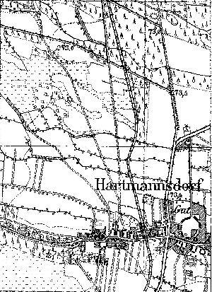 Fragment niemieckiej mapy topograficznej okolic Jarogniewic z 1933 r. Po środku widać stację kolejową, prawodpodobnie z jednym bocznym torem (mijanka) od strony szosy (z prawej).