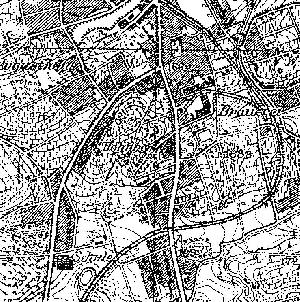 Mapa topograficzna, 1933 r. Z prawej rozjazd krzyzowy przy browarze. Na dole po środku przejazd kolei przez ul. Kożuchowską. Na lewo od niego był plac składowania drewna z nitkami torów.