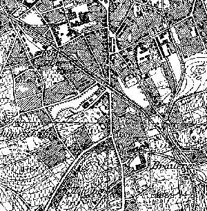 Mapa z 1933 r. W prawym dolnym rogu rozjazd przy browarze. Do góry odchodzi bocznica do zakładów wełnianych. Do góry w lewo tor idzie do stacji Górne Miasto. Po drodze nic nie zaznaczono.