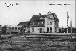 Widok na budynek dworca na stacji Zielona Góra Górne Miasto. Stan przed 1945 r.
