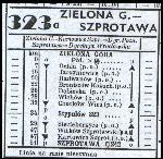 Tabela linii Zielona Góra - Szprotawa z rozkładu jazdy PKP z 1948 r. Mamy już w nim nazwy wsi po zatwiedzeniu przez Rząd Polski (w 1948 r.). Zbiory Mieczysława J. Bonisławskiego