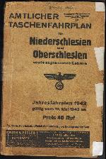 Okładka niemieckiego rozkładu jazdy (lokalny dla dzielnicy Niederschliesen) z 1943 r. Ze zbiorów Mieczysław J. Bonisławskiego