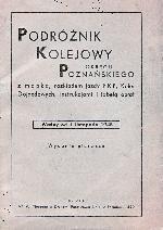 Okładka pierwszego powojennego rozkładu jazdu dla okręgu poznańskiego z jesieni 1945 r. Tabela linii zoelonogórsko - szprotawskoej występuje pod numerem 36. Ze zbiorów Mieczysława J. Bonisławskiego